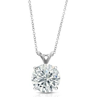 Pori Jewelers 14k Solid White Gold 1.0cttw Round-cut Gemstone Pendant necklace