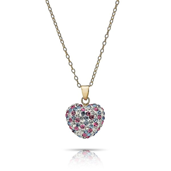 14 KARAT GOLD Plate NECKLACE and Solid Heart with Chrystal PENDANT