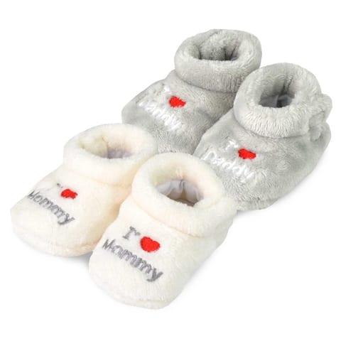 TeeHee Kids Fun and Cozy Baby Fleece Booties 2-Pack
