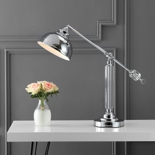 """Giselle 22"""" Metal and Crystal Task Lamp, Chrome/Clear by JONATHAN Y"""