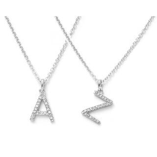 Pori Jewelers 14k Solid White Gold Initial White Topaz Gemstone Pendant Necklace