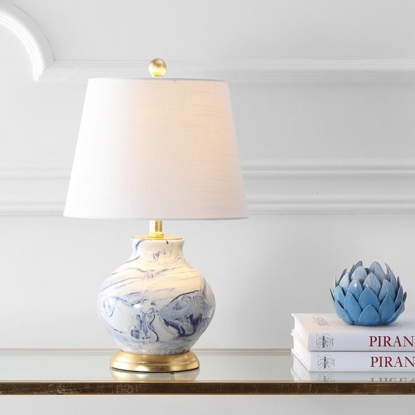 "Holly 20.5"" Marbleized Ceramic LED Table Lamp, Blue/White"