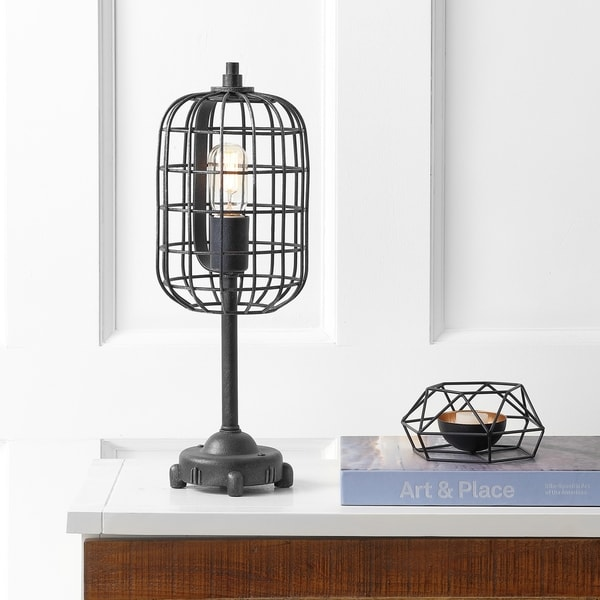 "Odette 20"" Industrial Metal Table Lamp, Black/Silver"