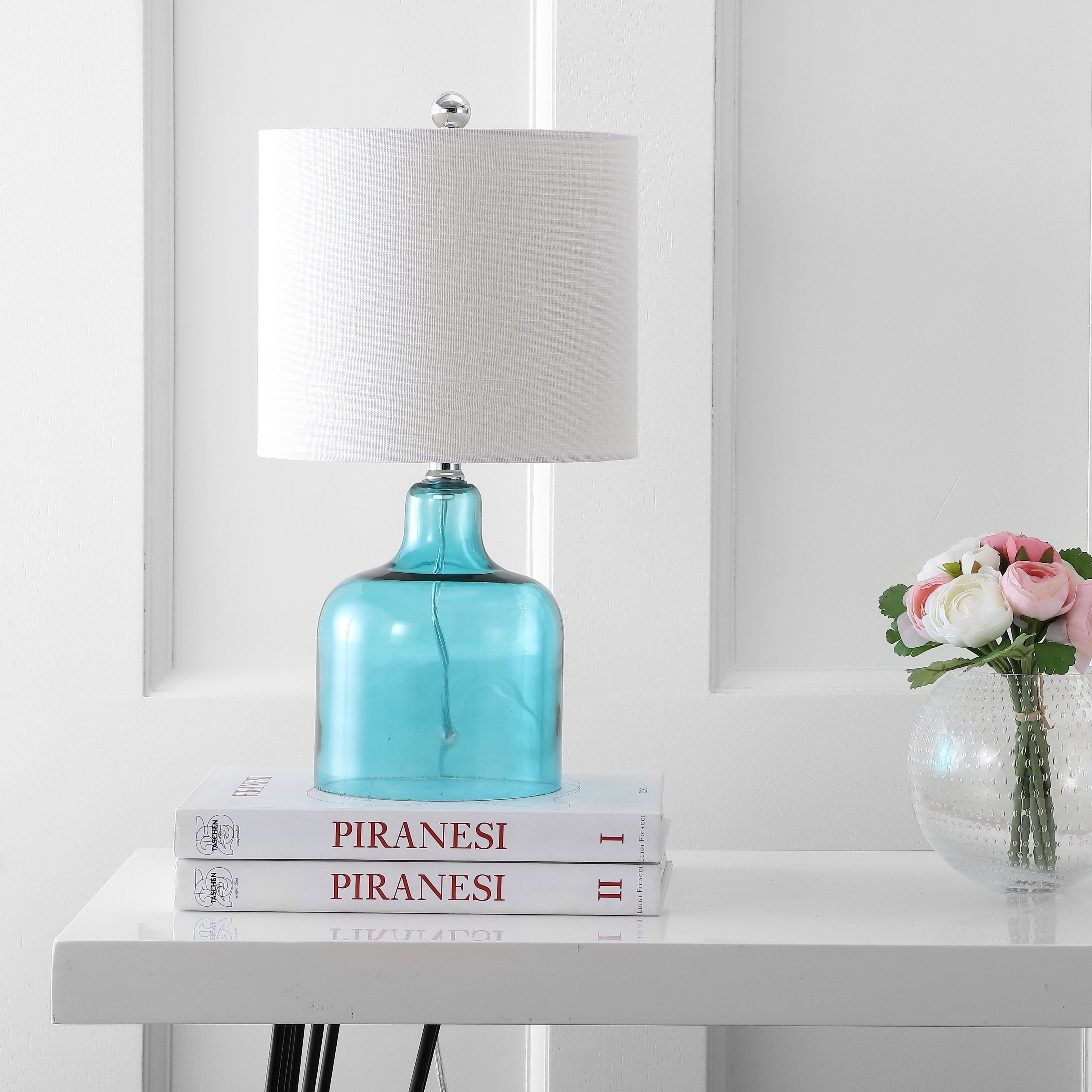 Picture of: Shop Gemma 19 Glass Bell Led Table Lamp Moroccan Blue By Jonathan Y On Sale Overstock 20456474