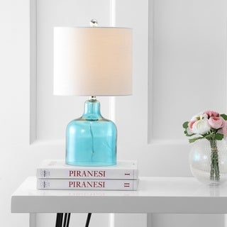 """Gemma 19"""" Glass Bell LED Table Lamp, Moroccan Blue by JONATHAN Y"""