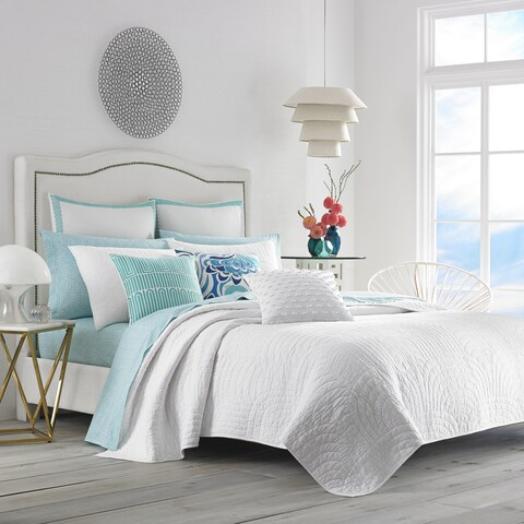 Trina Turk Palm Desert White Cotton Quilt Set