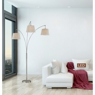 "Artiva USA Luce 84"" Brushed Steel LED Arched Floor Lamp with Dimmer"