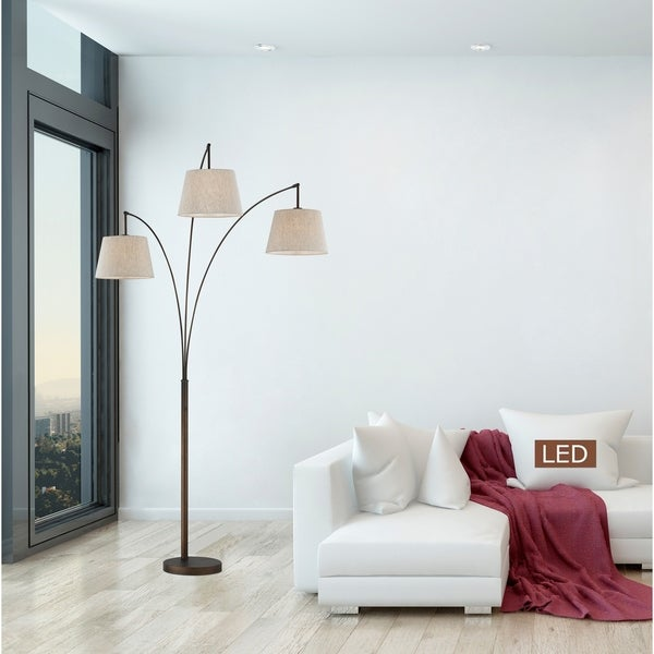 """Artiva USA Luce 84"""" Antique Bronze LED Arched Floor Lamp with Dimmer"""