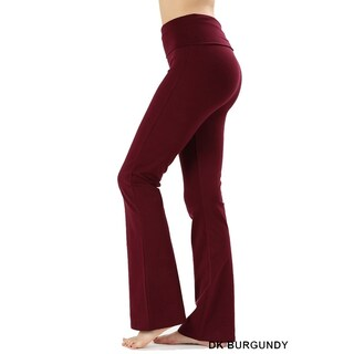 JED Women's Ultra Stretchy Fold-Over Waist Flared Yoga Pants (More options available)