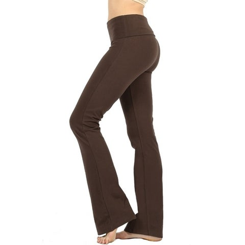JED Women's Ultra Stretchy Fold-Over Waist Flared Yoga Pants