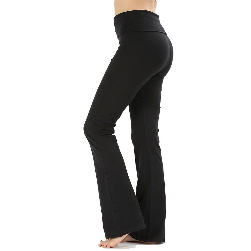 JED Womens Ultra Stretchy Fold-Over Waist Flared Yoga Pants by  Today Sale Only