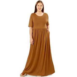 JED Women's Soft Fabric Short Sleeve Plus Size Maxi Dress (3 options available)