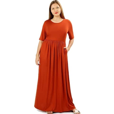 JED Women's Soft Fabric Short Sleeve Plus Size Maxi Dress