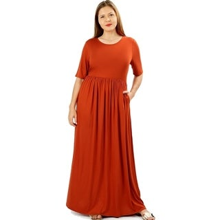 JED Women's Soft Fabric Short Sleeve Plus Size Maxi Dress (4 options available)