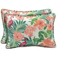 Arden Selections™ Luau Flamingo Tropical Outdoor Oversized Lumbar Pillow (2-Pack)