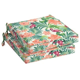 Arden Selections Luau Flamingo Tropical Outdoor Seat Cushion 2-Pack
