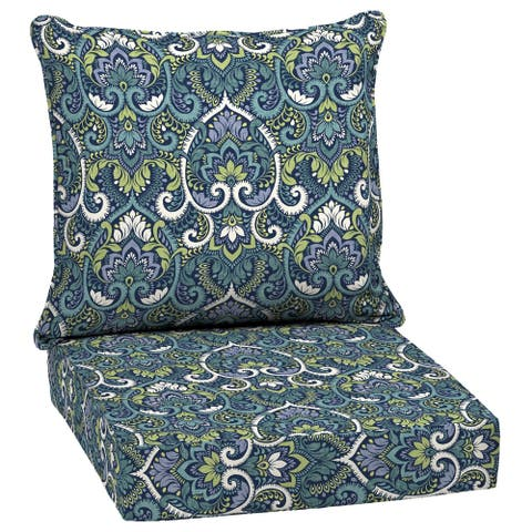 Arden Selections Sapphire Aurora Damask Outdoor Deep Seat Set - 46.5 in L x 25 in W x 6.5 in H