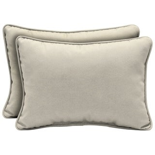 Arden Selections Sand Canvas Texture Outdoor Oversized Lumbar Pillow (2-Pack)