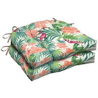 Arden Selections Luau Flamingo Tropical Outdoor Wicker Seat Cushion 2-Pack