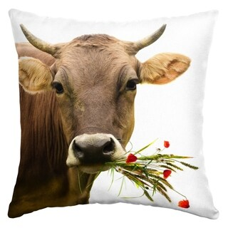 Arden Selections Cow With Bouquet Outdoor Square Pillow