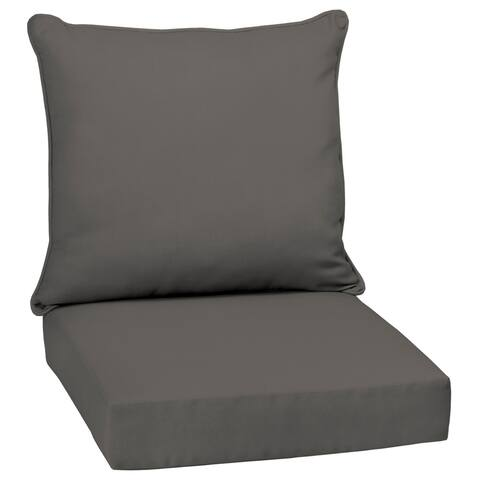 Arden Selections Slate Canvas Texture Outdoor Deep Seat Set - 46.5 in L x 25 in W x 6.5 in H