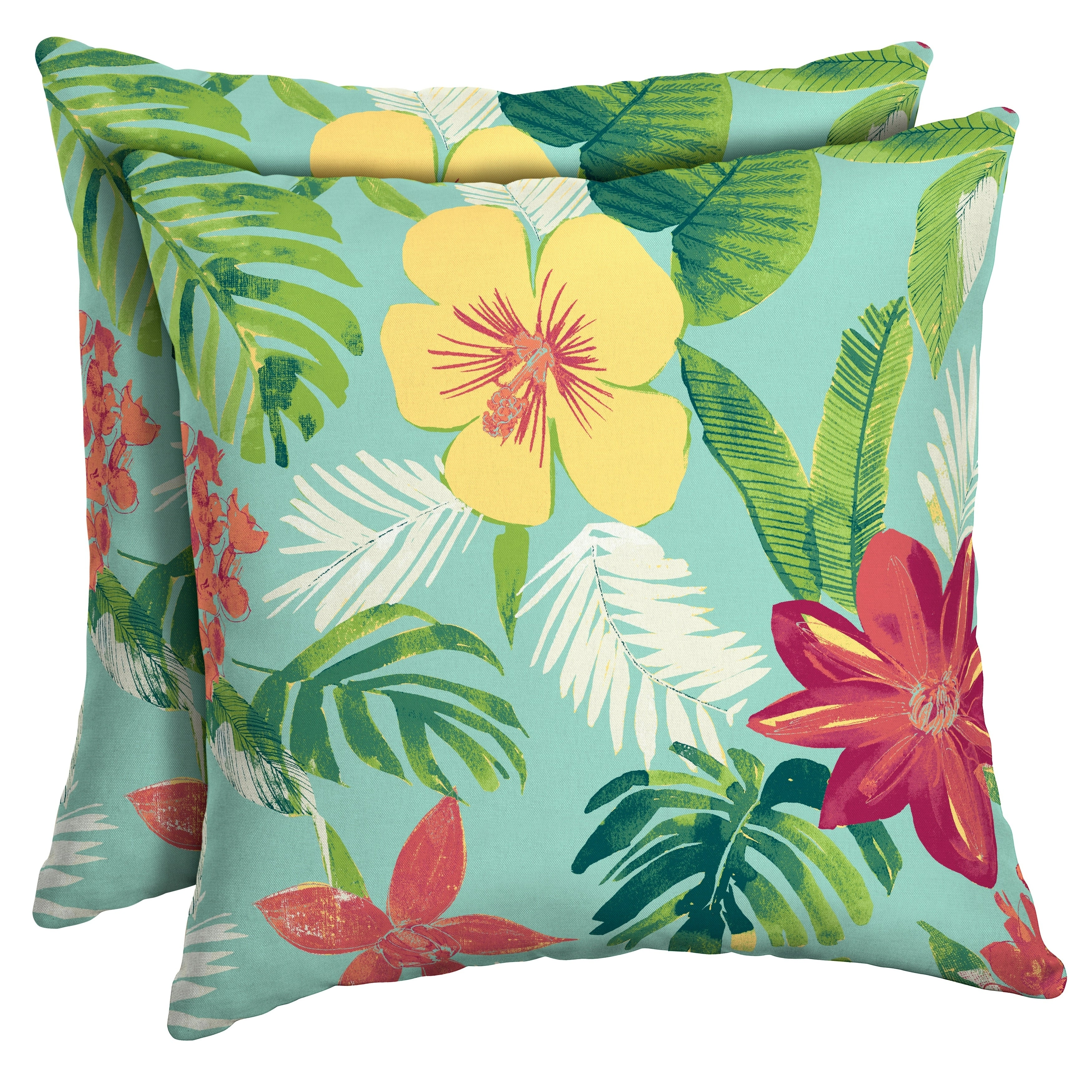 Arden Selections Elea Tropical Outdoor Square Pillow 2 Pack