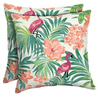 Arden Selections Luau Flamingo Tropical Outdoor Square Pillow 2-Pack