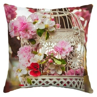 Arden Selections Floral Birdcage Outdoor Square Pillow