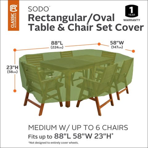 """Classic Accessories SODO Plus Rectangular/Oval Patio Table & Chair Set Cover - 88""""L x 58""""W x 23""""H"""