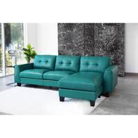 Abbyson Oceana Blue Top Grain Leather Reversible Sectional