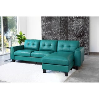 Abbyson Oceana Blue Top Grain Leather Reversible Sectional