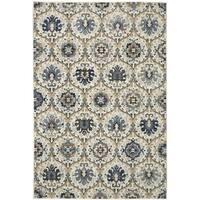 Ornate Cream Blue Luxurious Polyester Area Rug - 8' x 10'