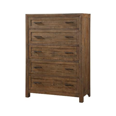 Carbon Loft Catlett Caramel Brown 5-drawer Dresser with Solid Wood Planking
