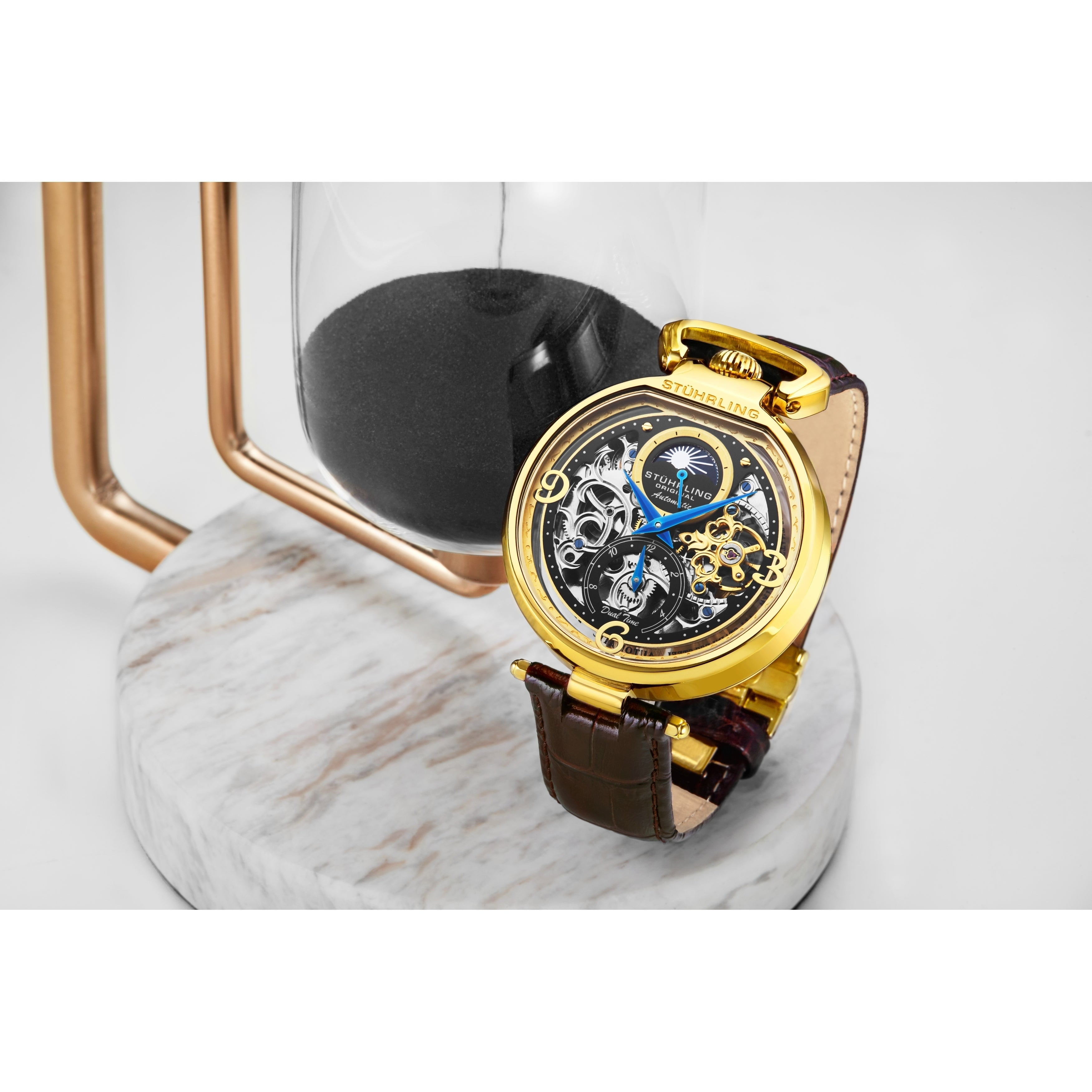 Shop for Stuhrling Original Mens Stainless Steel Automatic Watch, Skeleton  Dial, Dual Time, AM/PM Sun Moon, Leather Band, 889 Series. Get free  delivery On EVERYTHING* at Overstock - Your Online Watches Store! Get 5% in  rewards with Club O ...