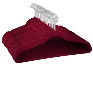 Premium Quality Space Saving Luxurious Velvet Hangers Strong and Durable Royal Red / Burgundy - 50 Pack