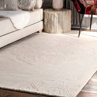 nuLOOM Hand-woven Abstract Fancy Wool Ivory Area Rug (3' x 5') - 3' x 5'