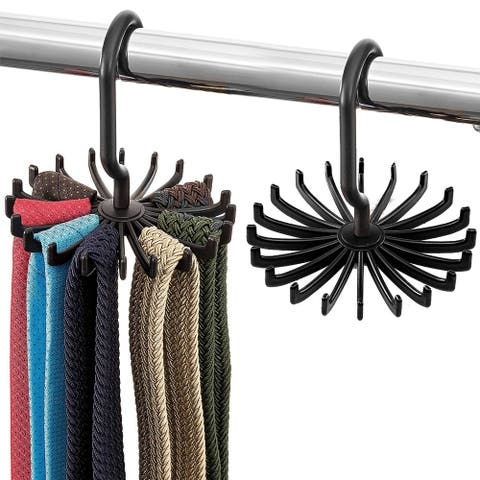 Tie Rack and Belt Hanger (2 Pack) Hooks for Ties, Belts, and Scarves