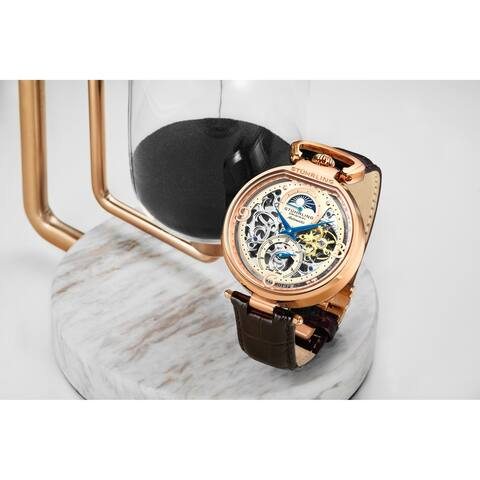 Stuhrling Original Mens Stainless Steel Automatic Watch, Skeleton Dial, Dual Time, AM/PM Sun Moon, Leather Band, 889 Series