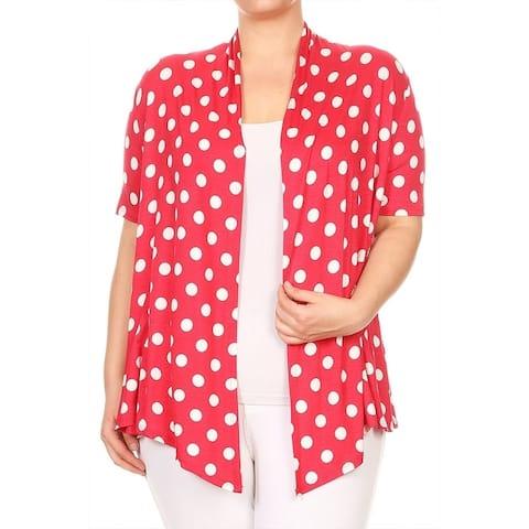 Women's Plus Size Polka Dot Draped Cardigan