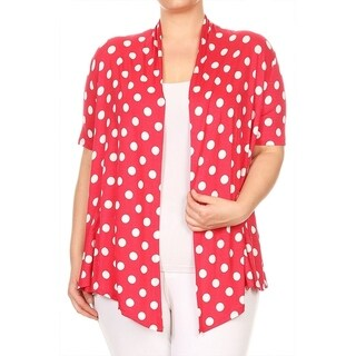 Women's Plus Size Polka Dot Draped Cardigan