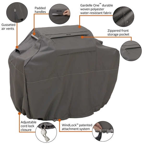Cart Style Zippered Top Pocket Gray Medium Ravenna BBQ Grill Cover 58 in