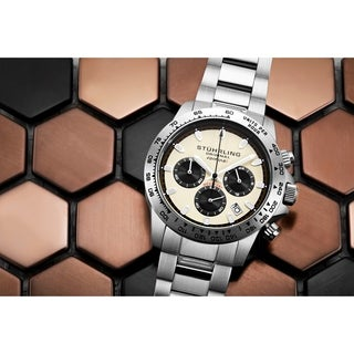 Stuhrling Original Men's Chronograph Watch Japanese Quartz, Water Resistant 100 Meters, Brushed Stainless Steel Bracelet