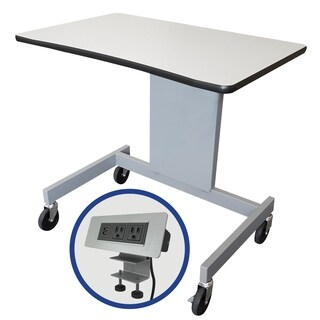 "The Marvel 48""W Focus Activity Table 30.5 - 44.5""H - Featuring Clamp on Power Data Center - Gray/Silver"
