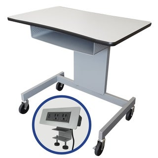 "The Marvel 60""W Focus Activity Table 30.5 - 44.5""H - Featuring Clamp on Power Data Center - Gray/Silver"