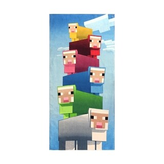 Minecraft Rainbow Sheep Cotton Beach Towel