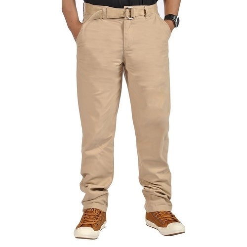 Mens Relaxed fit Double Ring Belt Casual Chino apered Pants Khaki