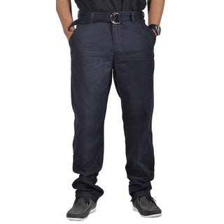 Mens Relaxed fit Double Ring Belt Casual Chino Tapered Pants Navy