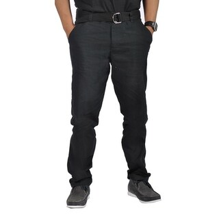 Mens Relaxed fit Double Ring Belt Casual Chino Tapered Pants Black