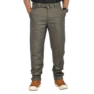 Mens Relaxed fit Double Ring Belt Casual Chino Tapered Pants Olive