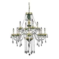 Fleur Illumination Green Glass/Steel 12-light Chandelier